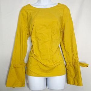Dalia L mustard yellow button back blouse